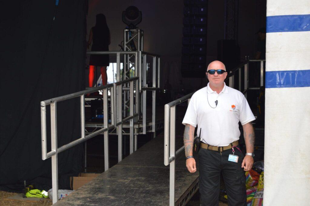 security standing at door